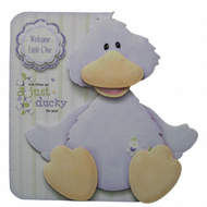 New Baby Cute Duck 3D Decoupage Card Birth Congratulations Boy or Girl