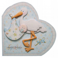 New Baby Boy Heart Shaped 3D Decoupage Card Special Delivery Stork Birth Card