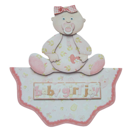 New Baby Girl Wavy Edge Over the Top Card 3D Decoupage Birth Congratulations