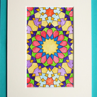Arabic Geometric Art Small Painting Inktense Coloured Pencil Painting Islamic