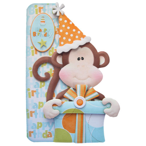 Cheeky Monkey Handcrafted Birthday Card 3D Decoupage Any Age Any Gender