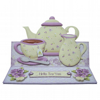 Hello Tea You Over the Edge Any Occasion 3D Decoupage Easel Card