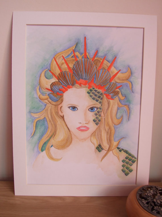 Mermaid Portrait Original Fantasy Art Watercolour Painting Fine Art with Mount