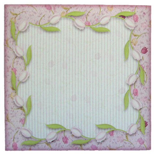 5 Pretty Pink Tulip Border Envelopes 6 x 6 for Cards