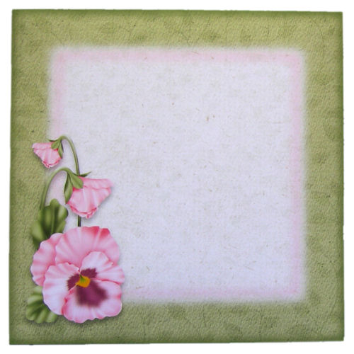 5 Pink Pansy Square Envelopes 6 x 6 for Card Makers