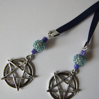 Large Pentacle Ribbon Bookmark Pentagram Wicca Beaded Beads Pagan
