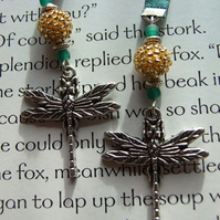 Handcrafted Tibetan Silver Dragonfly Charm Ribbon Bookmark Green & Gold
