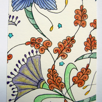 Floribundance ACEO ATC Original Small Art Zentangle Coloured Pencil Part 7 of 8