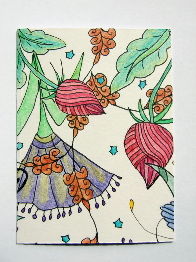 Floribundance ACEO ATC Original Small Art Zentangle Coloured Pencil Part 2 of 8