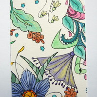 Floribundance ACEO ATC Original Small Art Zentangle Coloured Pencil Part 3 of 8