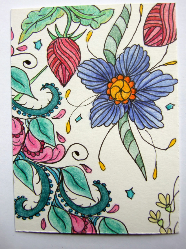 Floribundance ACEO ATC Original Small Art Zentangle Coloured Pencil Part 4 of 8