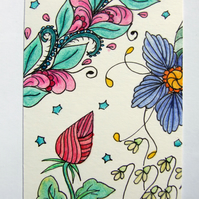 Floribundance ACEO ATC Original Small Art Zentangle Coloured Pencil Part 5 of 8