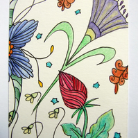 Floribundance ACEO ATC Original Small Art Zentangle Coloured Pencil Part 6 of 8