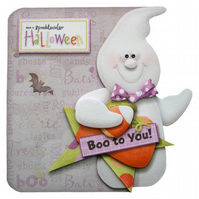 Spooktacular Halloween Card 3D Decoupage Ghost Shaped Card Trick or Treat