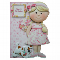 Girly Greetings 3D Decoupage Birthday Card Girl with Flowers & Dog