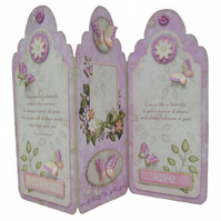 Any Occasion Butterfly Tag Shaped Tri-Fold Handcrafted 3D Decoupage Card