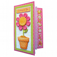 Thinking of You Sympathy Card Handmade 3D Decoupage Pink Daisy
