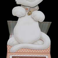 Cute Kitty Easel Card 3D Decoupage Card & Matching Envelope White Cat Birthday