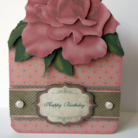 Birthday Card Dusky Pink Rose Handcrafted 3D Decoupage Card Mum Flowers