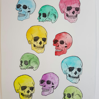 ORIGINAL 'Skull Candy' Watercolor and Fineliner Pattern Illustration Painting