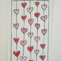 ORIGINAL 'Tangled up Love' Watercolor & Fineliner Pattern Illustration Painting