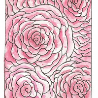 Limited Edition A4 Giclee Art Print 'Doodle Roses' Watercolor Pattern Design