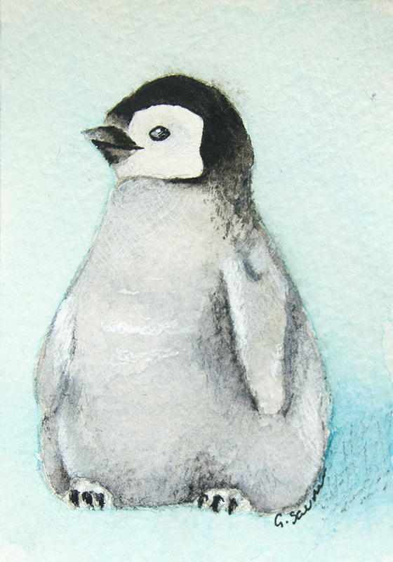 Baby Penguin Cute ACEO No. 6 Watercolor Illustration Limited Edition Print