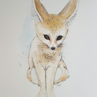 Cute 'Little Fennec Fox' ORIGINAL Watercolor Animal Illustration