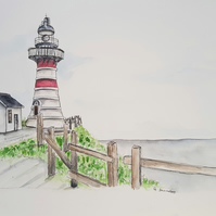 Lighthouse on a Hill ORIGINAL Sea Landscape Watercolor Illustration Painting