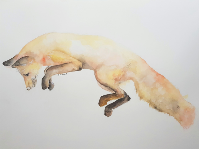ORIGINAL 'In Search of Prey' Fox Watercolor Wildlife Illustration Painting