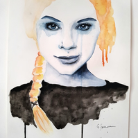 Happy Tears ORIGINAL Watercolor Portrait Painting