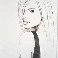 ORIGINAL Touch of Pink Fashion Portrait Watercolor Illustration Painting