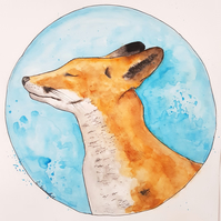 The Happy Fox ORIGINAL Watercolor Wildlife Illustration Painting