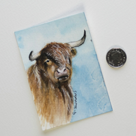 ORIGINAL ACEO No. 12 'Highland Cow' Mixed Media Watercolor and Charcoal Painting