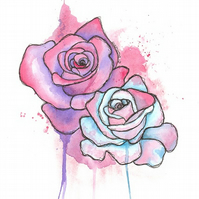 Limited Edition 'Graffiti Roses' A4 Giclee Art Print