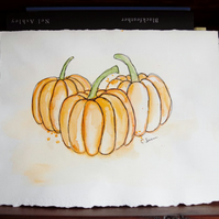 ORIGINAL Art 'Pumpkin Patch' Watercolor Illustration Painting