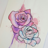 ORIGINAL Art 'Graffiti Roses' Watercolor and Pen and Ink Illustration Painting