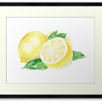 Lemons and Leaves ORIGINAL Watercolour Illustration Painting
