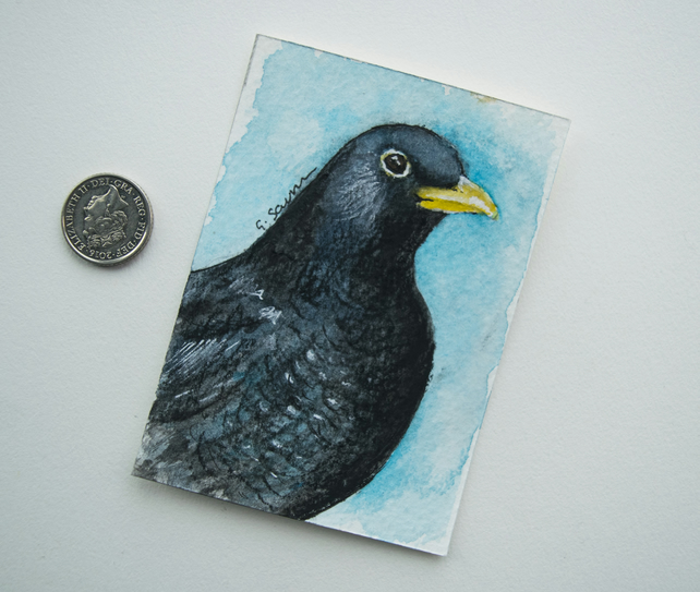 ORIGINAL ACEO No. 5 'Blackbird' Mixed Media Watercolor and Charcoal Painting