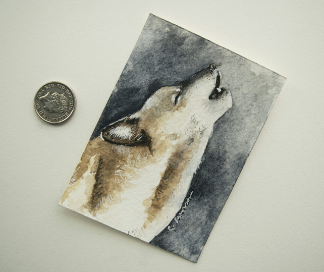 ORIGINAL ACEO No. 8 'Howling Wolf' Mixed Media Watercolor and Charcoal Painting