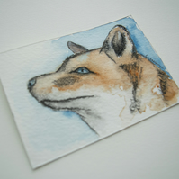 ORIGINAL ACEO No. 1 'Red Fox' Mixed Media Watercolor and Charcoal Painting