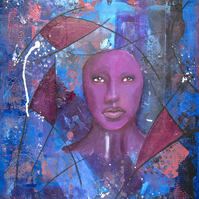 'Purple Haze' Original Mixed Media Acrylic Abstract Portrait Painting
