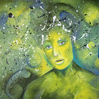 'Green Lady' Original Mixed Media Acrylic Abstract Portrait Painting