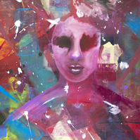 'Sightless' Original Mixed Media Acrylic Abstract Portrait Painting