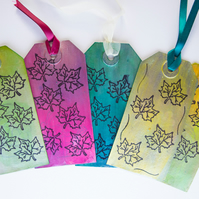 5 Handcrafted Gift Tags Autumn Leaves, Metallic Effect, Scrapbook with Ribbon