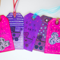 5 Handcrafted Gift Tags New Baby, Pram, A B C, Glitter, Scrapbooking with Ribbon