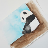 Original Panda Bear Wildlife Watercolor Illustration Painting