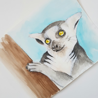 Original Lemur Wildlife Watercolor Illustration Painting