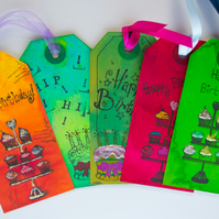 5 Handcrafted Happy Birthday Gift Tags Glitter, Hip Hooray, Scrapbook, Ribbon