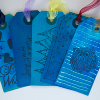 5 Handcrafted Blue Gift Tags Assorted Designs Owl, Hearts, Scrapbook, Ribbon